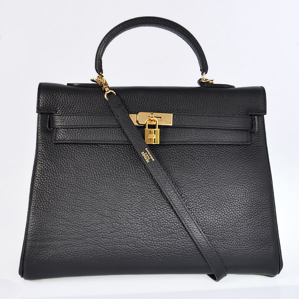 HKL35B Hermes kelly 35CM Black clemence leather(Gold)