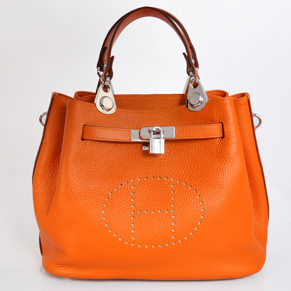 8388OS Hermes Mini so kelly bag in Orange with Silver hardware
