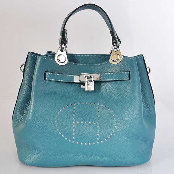 8388MBS Hermes Mini so kelly bag in Medium Blue with Silver hardware