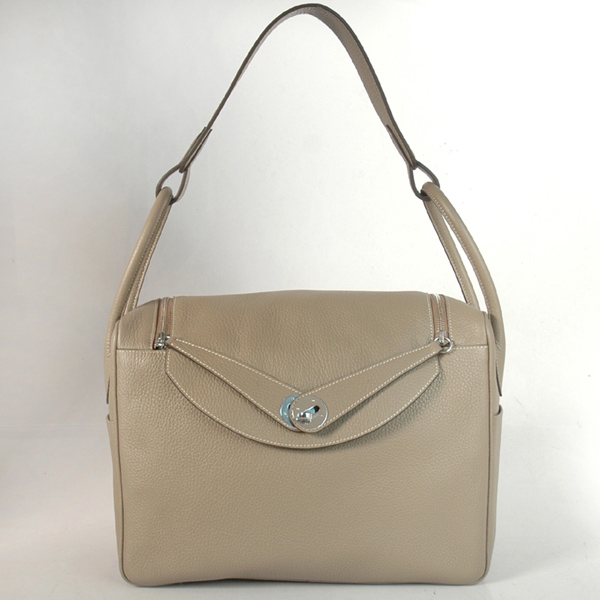 1056DG Hermes Lindy Bag 34 clemence leather in Dark Grey with Silver hardware