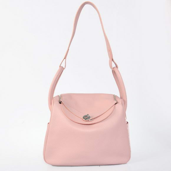 H1057 Hermes Lindy 30CM Havanne Handbags 1057 Pink Leather Silver Hardware