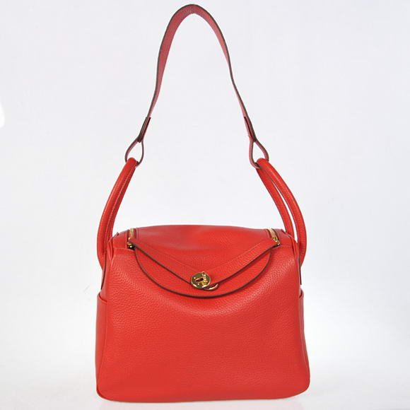 H1057 Hermes Lindy 30CM Havanne Handbags 1057 Red Leather Golden Hardware