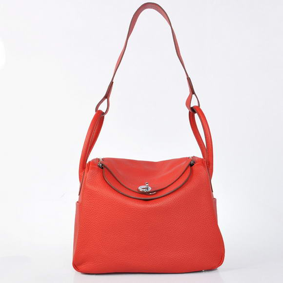 H1057 Hermes Lindy 30CM Havanne Handbags 1057 Red Leather Silver Hardware