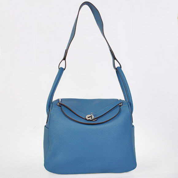 H1057 Hermes Lindy 30CM Havanne Handbags 1057 Blue Leather Silver Hardware