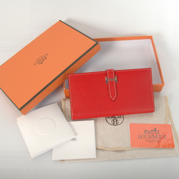 H2WLSLF Hermes 2 fold wallet clemence leather in Flame