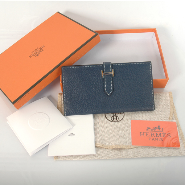 H2WLSDB Hermes 2 fold wallet clemence leather in Dark Blue
