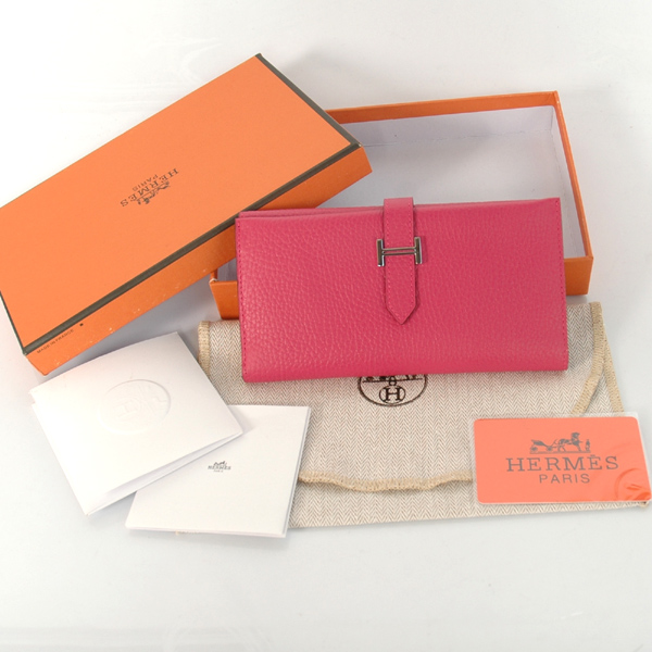 H3WLSLP Hermes 3 fold wallet clemence leather in Peach