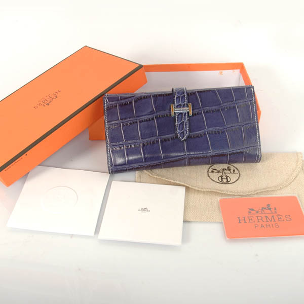 H3WCSLB Hermes 3 fold wallet Crocodile stripes leather in Blue