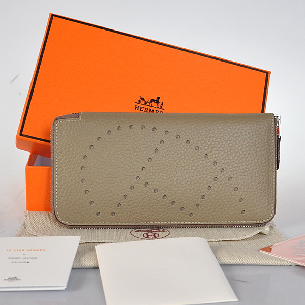 A808 Hermes Evelyn Wallet clemence leather in Dark Grey