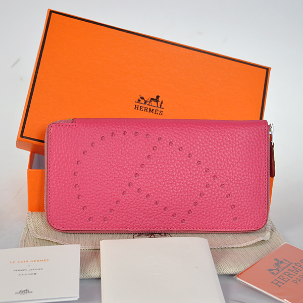 A808 Hermes Evelyn Wallet clemence leather in Peach