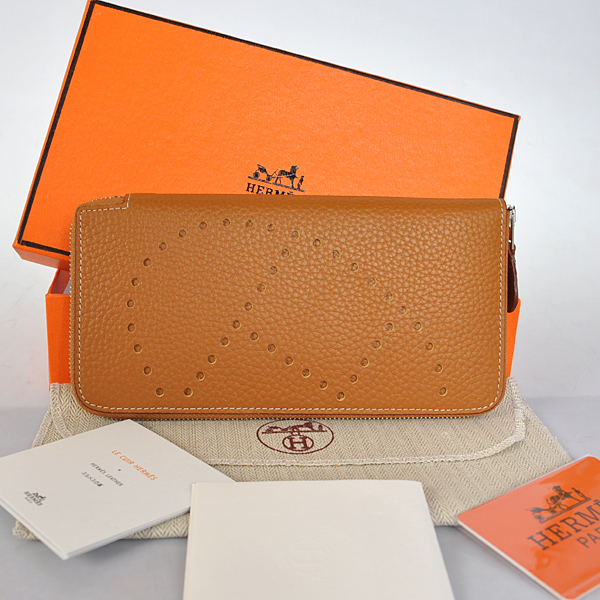 A808 Hermes Evelyn Wallet clemence leather in Camel