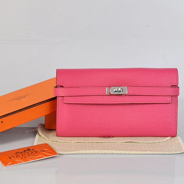 A708 Hermes Kelly Wallet clemence leather in Peach