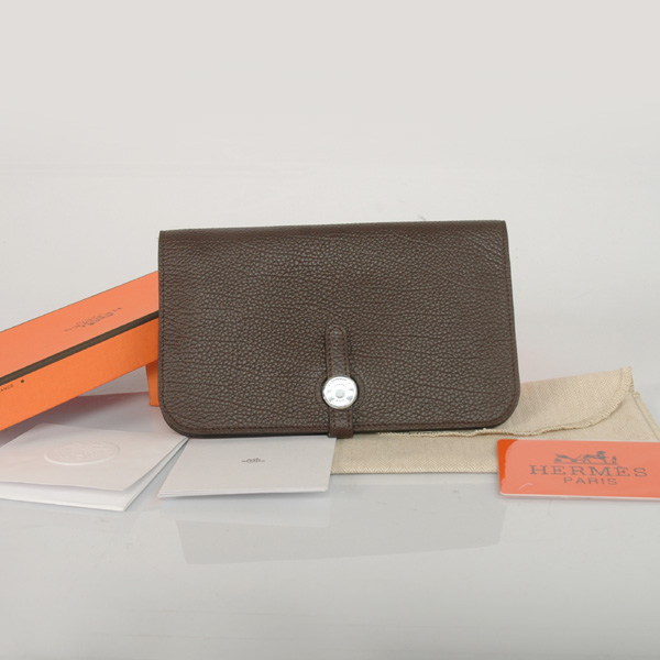 HPW0DB Hermes passport Wallet leather in Dark Brown
