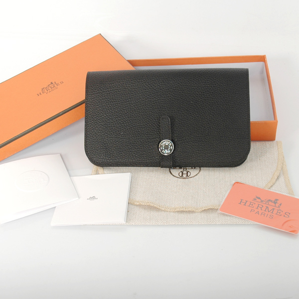HPW00B Hermes passport Wallet leather in Black