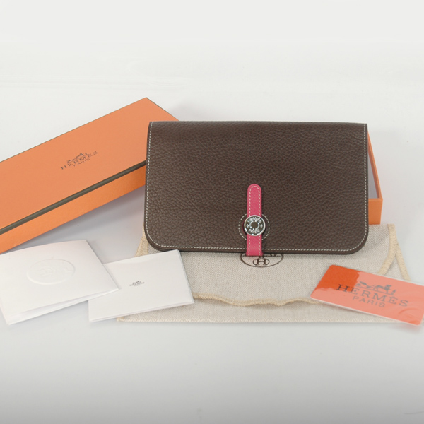 HPWDBP Hermes passport Wallet clemence leather in Dark Brown/Peach