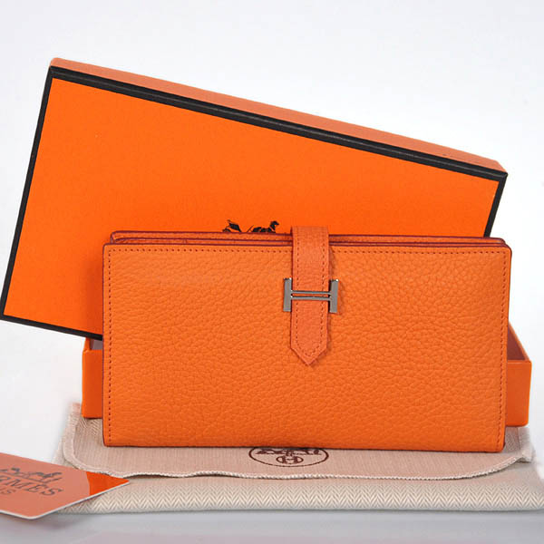 208 Hermes 2 flod original leather wallet in Orange