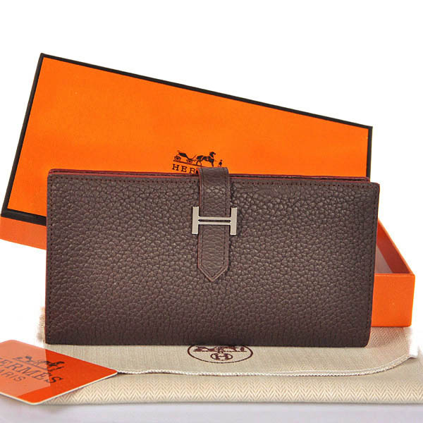 208 Hermes 2 flod original leather wallet in Dark Brown