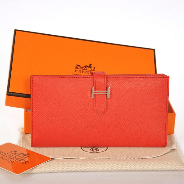 208 Hermes 2 flod original leather wallet in Flame