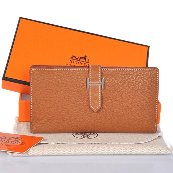 208 Hermes 2 flod original clemence leather wallet in Camel