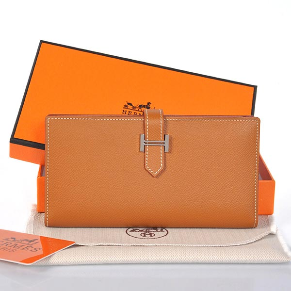 208 Hermes 2 flod original leather wallet in Camel