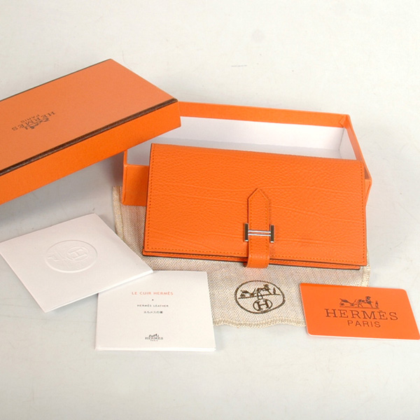 8022 Hermes 2 flod original leather wallet in Orange