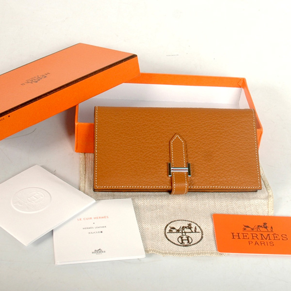 8022 Hermes 2 flod original leather wallet in Camel