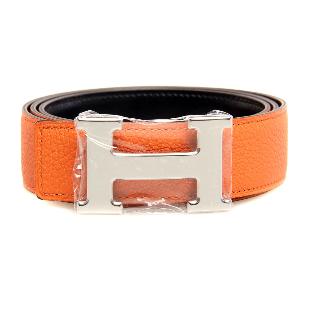 H1002 Hermes belt leather in Camel/Dark Brown with H Silver Buckle