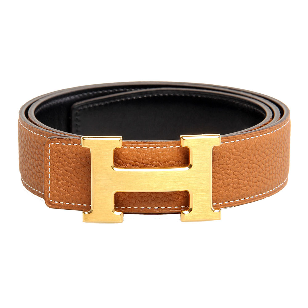 H1002 Hermes belt leather in Camel/Medium Blue with H gold Buckle