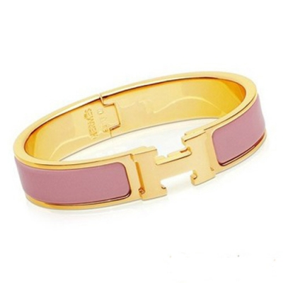 Hermes Gold Plated H Narrow Bracelet with Pink Enamel