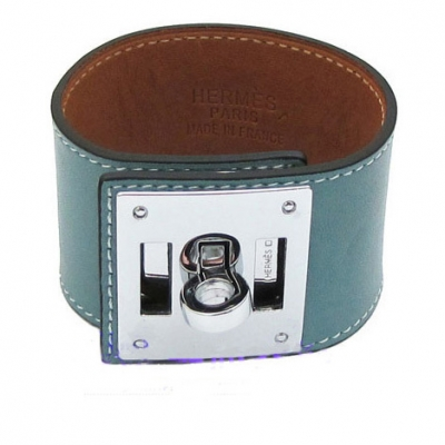 Hermes Kelly Dog Cuff Bracelet Blue With 10k White Gold HW