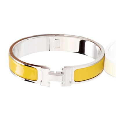 Hermes Silver Platinum Plated H Narrow Bracelet with Yellow Enamel