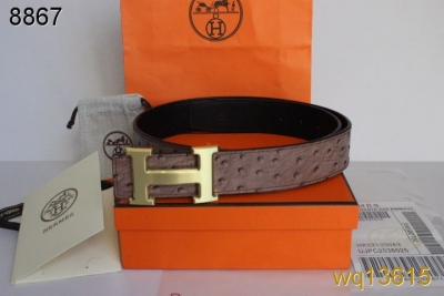 Brand Grey Mens Hermes with Golden H Buckle Belt Promote