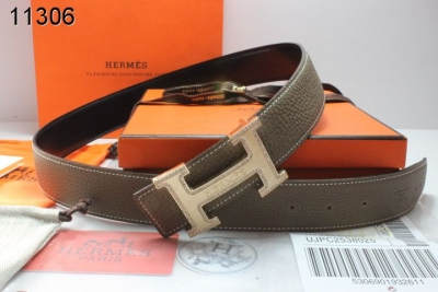 Amazing with Golden H Buckle Belt Chocolate Mens Hermes