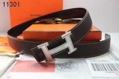 New Hermes Mens with Silver H Buckle Belt Chocolate Sale