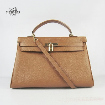 6308 Hermes Kelly 35cm Togo Leather Bag Light Coffee 6308 Gold Hardware