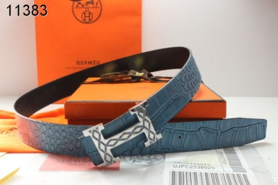 Brand Blue with Silver H Buckle Mens Hermes Belt Promote