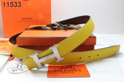 Womens Hermes Belt with Silver H Buckle Yellow Online