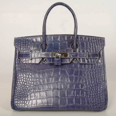 H30CSBS Hermes Birkin 30CM Crocodile stripes leather in Blue with Silver hardware