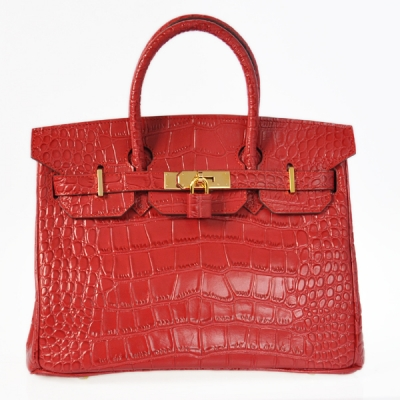 H30CSFG Hermes Birkin 30CM Crocodile stripes leather in Flame with Gold hardware