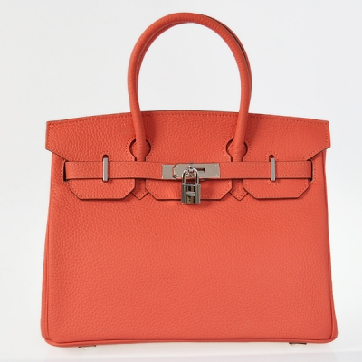 H30LSWRS Hermes Birkin 30CM clemence leather in Watermelon Red with Silver hardware