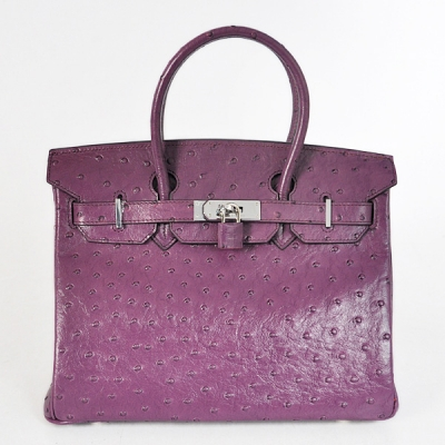 H30OSPS Hermes Birkin 30CM Ostrich stripes leather in Purple with Silver hardware