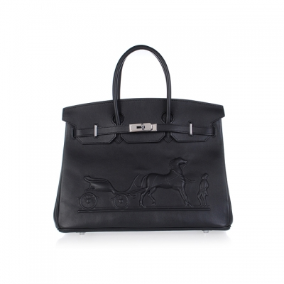 H35 Hermes Birkin 35CM with Embossed logo Handbag black H35