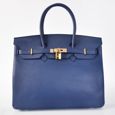 H35DBLG Hermes Birkin 35CM Dark Blue clemence leather(Gold)