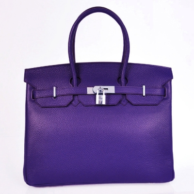 H35LIPS Hermes Birkin 35CM clemence leather in Iris Purple with Silver hardware