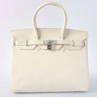 H35LPWS Hermes Birkin 35CM clemence leather in Pure white with Silver hardware
