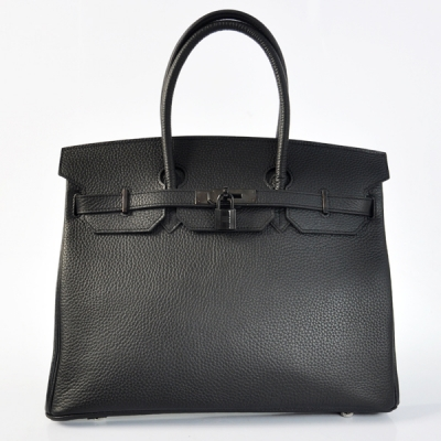 H35LSBB Hermes Birkin 35CM clemence leather in Black with Black hardware