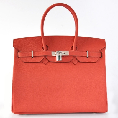 H35LWRS Hermes Birkin 35CM clemence leather in Watermelon Red with Silver hardware