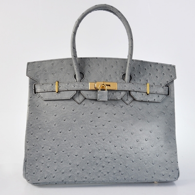 H35OSGG Hermes Birkin 35CM Ostrich stripes leather in Gray with Gold hardware