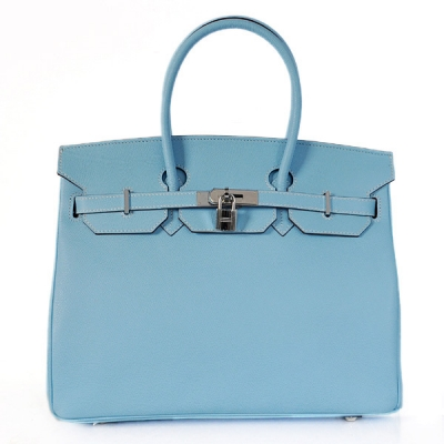 H35PLBS Hermes Birkin 35CM Palm stripes leather in light blue with Silver hardware