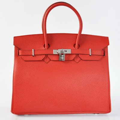 H35POSG Hermes Birkin 35CM clemence leather in Flame with Silver hardware